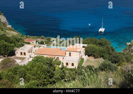 Villa above Erimiti bay on west coast, Paxos, Ionian Islands, Greek Islands, Greece, Europe - Stock Photo
