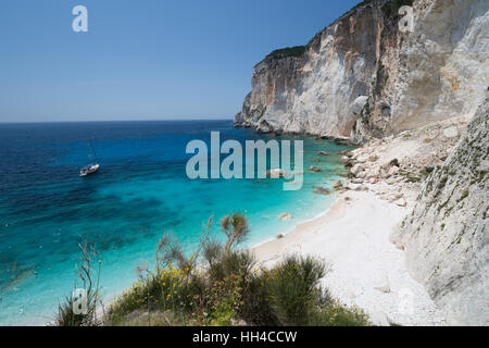 Erimitis beach on west coast, Paxos, Ionian Islands, Greek Islands, Greece, Europe - Stock Photo
