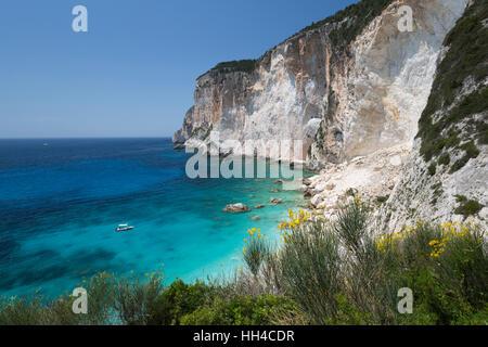 Erimitis beach on west coast, Paxos, Ionian Islands, Greek Islands, Greece, Europe - Stock Photo