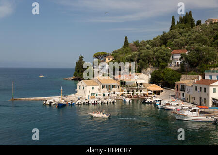 View over harbour, Loggos, Paxos, Ionian Islands, Greek Islands, Greece, Europe - Stock Photo