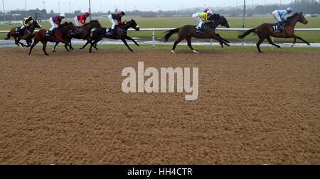 Runners and riders round the first bend during The 32Red.com Maiden Stakes at Wolverhampton Racecourse. - Stock Photo