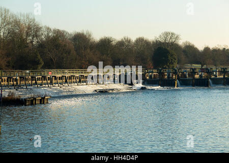 Weir on the River Thames in England at Ham in south west London – part of the Teddington Lock complex. Teddington - Stock Photo