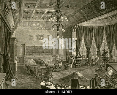 RICHARD WAGNER  German composer's villa,  'Wahnfried', at Bayreuth:  the library - Stock Photo