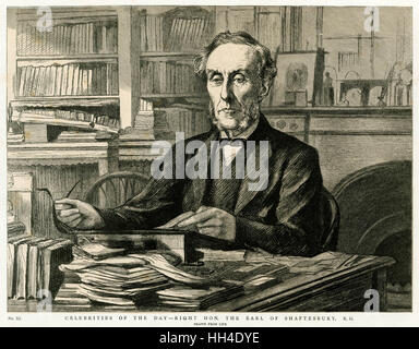 ANTHONY ASHLEY COOPER 7th EARL of SHAFTESBURY (1801 - 1885), Politician and  philanthropist at his desk - Stock Photo