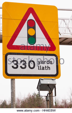 British road traffic sign showing drivers that there is traffic lights ahead - Stock Photo