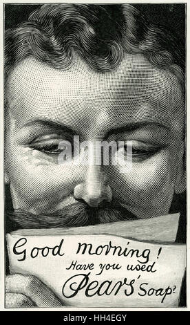 'Good morning, have you used  Pear's Soap ?' - one of the  greatest of all advertising  slogans, used here in a - Stock Photo