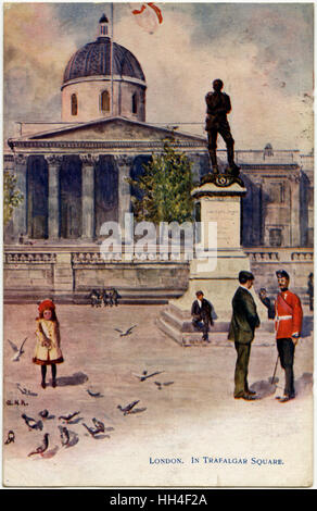 National Gallery, Trafalgar Square, London with view of the Statue of  Major-General Charles George Gordon by Hamo - Stock Photo
