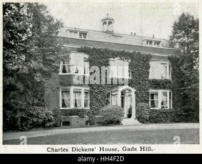A fine red brick house at Gad's Hill, near Rochester, Kent. It was here that Charles Dickens died on 9 June 1870, - Stock Photo