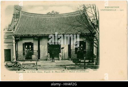 Paris Exposition of 1900 - Indochina - Traditional Vietnamese House - Pagode (Pagoda) of Phuoc-Kien at Cholon (Ho - Stock Photo