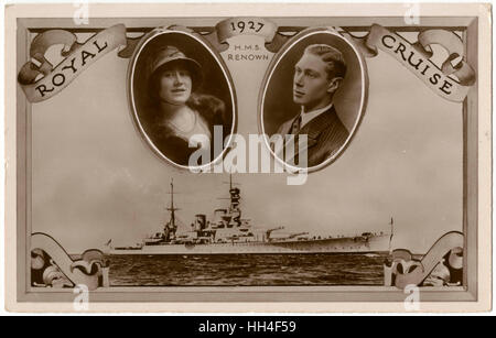 The Royal Cruise on HMS Renown (Renown-class battlecruiser) - (inset right) Prince Albert, Duke of York (1895-1952) - Stock Photo