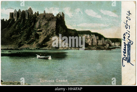 Dunluce Castle a now-ruined medieval castle in County Antrim, Northern Ireland. - Stock Photo