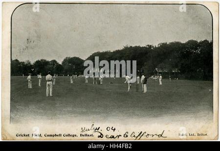 Cricket Field, Campbell College, Belfast, Northern Ireland. - Stock Photo