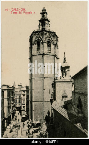 Valencia, Spain - Torre del Miguelete. Bell Tower of the Cathedral of Santa María de Valencia. - Stock Photo