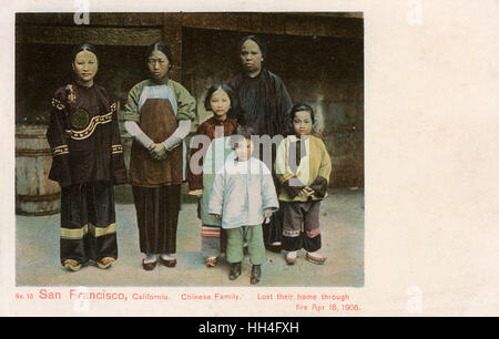 Chinese Family, San Francisco, California, USA - Made homeless after the devastating Earthquake of 18th April 1906. - Stock Photo
