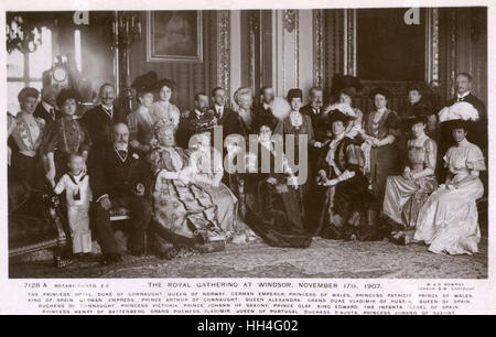 Royal Gathering at Windsor - European Royalty - November 17th 1907. This card features the following: The Princess - Stock Photo