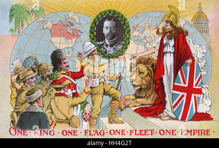 'One King, One Flag, One Fleet, One Empire' - inset portrait of King George V (1865-1936) (1/4). Stock Photo