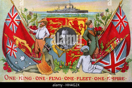 'One King, One Flag, One Fleet, One Empire' - inset portrait of King George V (1865-1936) (2/4). Stock Photo