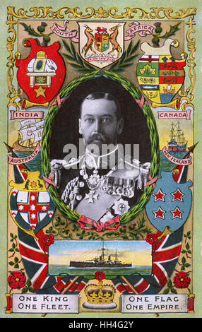 'One King, One Flag, One Fleet, One Empire' - inset portrait of King George V (1865-1936) (3/4). Stock Photo