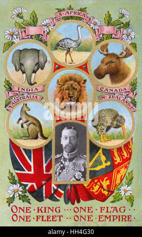 'One King, One Flag, One Fleet, One Empire' - inset portrait of King George V (1865-1936) surrounded by images of the varied animals and wildlife of the British colonial territories (4/4). Stock Photo