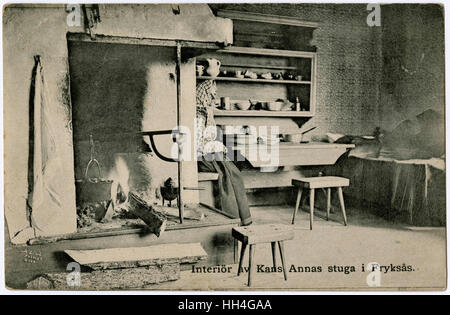 Kans Anna's cottage interior - Fryksas Village, Dalarna, Sweden. There are two very nice stool examples in this - Stock Photo