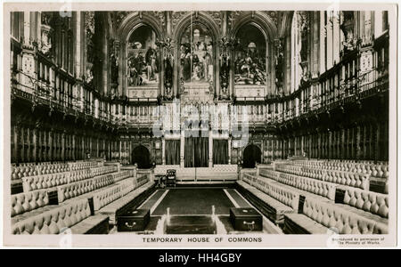 Temporary House of Commons occupying the House of Lords during WW2. From late June 1941 until October 1950, the - Stock Photo