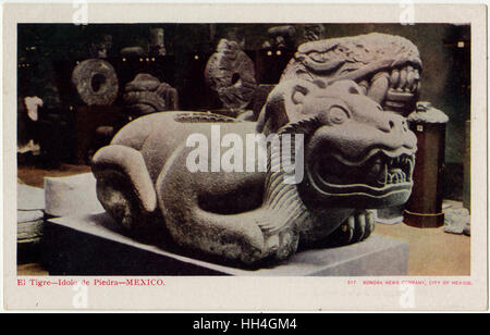 An Aztec Jaguar-shaped receptacle for the hearts of sacrifice victims, Templo Mayor ('Great Temple'), Tenochtitlan, - Stock Photo