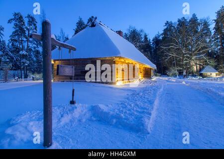 Latvian Ethnographic Open Air Museum at night, Riga, Latvia - Stock Photo