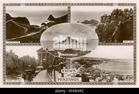 Five views of Penzance, west Cornwall -- St Michael's Mount, Kynance Cove, Land's End, Market in Jew Street, view - Stock Photo
