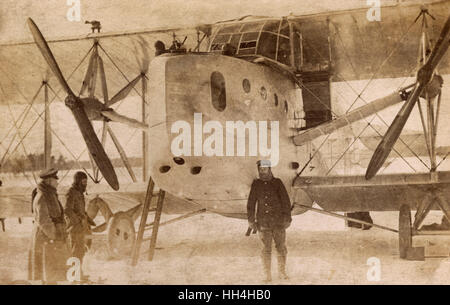 German Siemens Schuckert R7 bomber on the Eastern Front at Vilna, Lithuania, February-March 1917. - Stock Photo