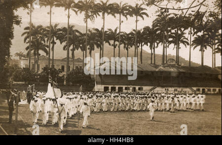 Royal Navy personnel from the warships HMS Hood and HMS Repulse at the CRF (Clube de Regatas do Flamengo) Stadium - Stock Photo