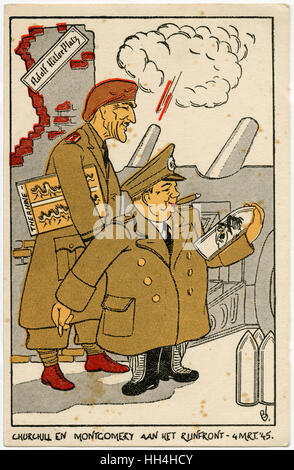 A Dutch postcard caricature of Field Marshal Bernard Law Montgomery, 1st Viscount Montgomery of Alamein (1887-1976) - Stock Photo