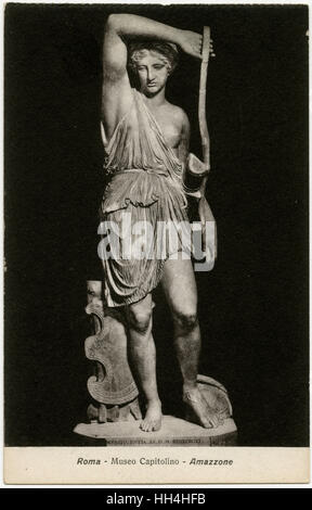 Statue of a Wounded Amazon Warrior - Capitoline Museum, Rome, Italy. Roman copy of Greek original by Phidias (5th - Stock Photo