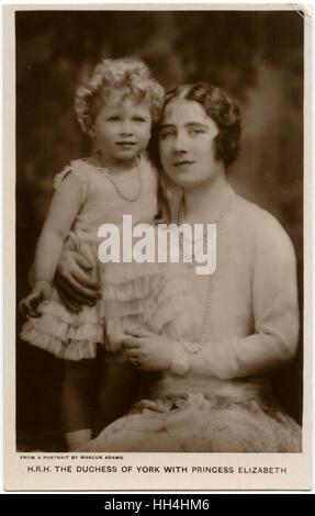 Elizabeth, Duchess of York (later Queen Elizabeth and The Queen Mother) (1900-2002) with her eldest daughter Princess - Stock Photo
