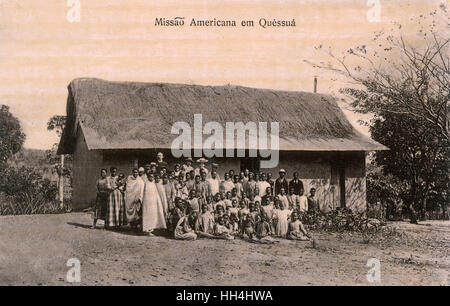 Group photo, American Mission in Quessua, Angola, Portuguese West Africa. - Stock Photo
