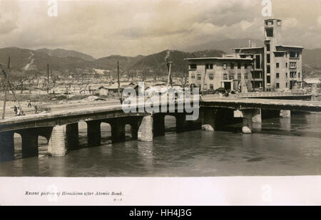 Scene after the dropping of the atomic bomb, Hiroshima, Japan. - Stock Photo