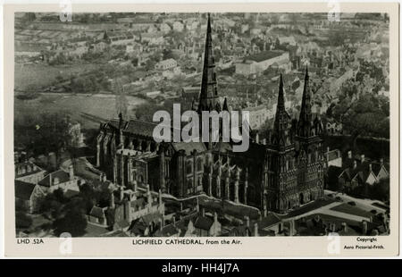 Lichfield Cathedral from the air - Lichfield, Staffordshire - Stock Photo