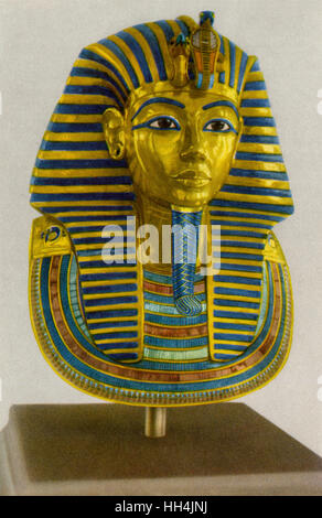 Iconic funerary mask of Pharao Tutankhamun (reigned 1332–1323 BC), discovered in 1922 by Howard Carter in the Valley - Stock Photo