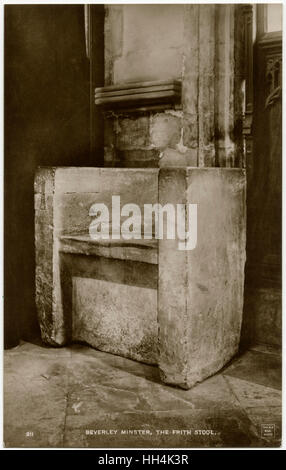 An Anglo-Saxon Frith Stool at Beverley Minster, East Riding of Yorkshire. Seating oneself on a frith-stool (also - Stock Photo