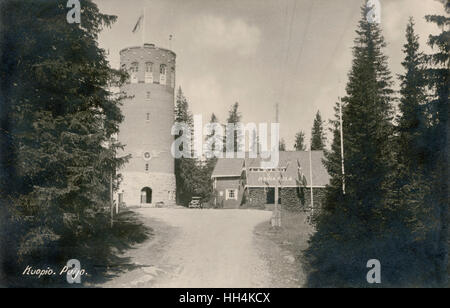 Kuopio Puijo Tower (2nd) is an observation tower in Kuopio, Finland. It was built in the 1900s. - Stock Photo