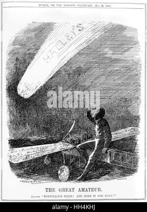 The Great Amateur. Aviator: 'Marvellous Flier! And does it for love!' - Punch Magazine's comment on the appearance - Stock Photo