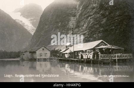 Restaurant and Kjendal Glacier, Loen, Nordfjord, Norway. - Stock Photo