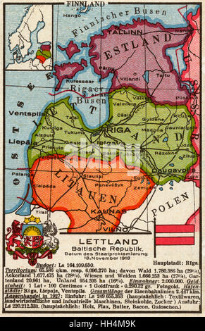 Dutch map postcard of the Baltic States, focusing on Latvia (Lettland). - Stock Photo