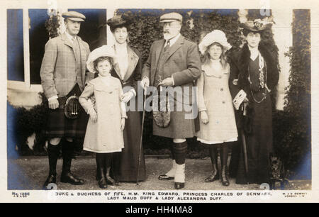 (from Left): Alexander William George Duff, 1st Duke of Fife (1849-1912), his younger daughter Maud (1893- 1945), - Stock Photo