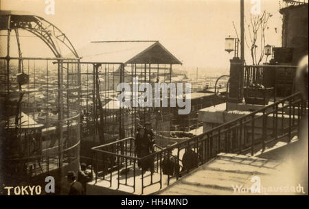 Roof of Matsuzakaya department store, Tokyo, Japan, with large birdcages. - Stock Photo