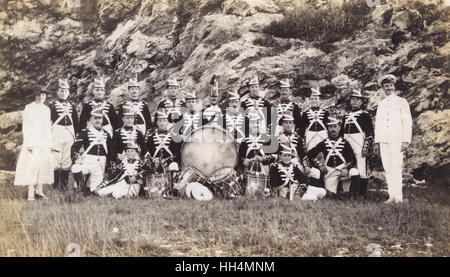 Unidentified drum band in traditional uniform. - Stock Photo