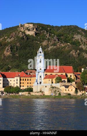 Church in Duernstein at Danube river, Austria, Lower Austria, Wachau Region - Stock Photo