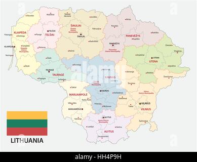 Administrative and political vector map of the Baltic republic of Lithuania with flag - Stock Photo