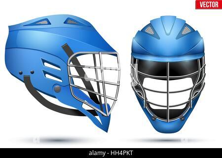 Blue Lacrosse Helmet set - Stock Photo
