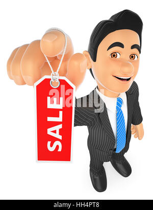 3d business people illustration. Businessman showing a tag with the word sale. Isolated white background. - Stock Photo