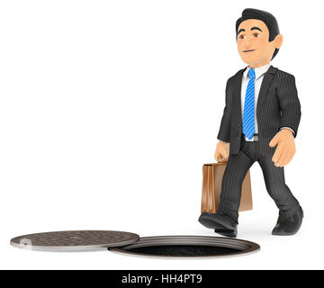 3d business people illustration. Businessman about to fall by an open sewer. occupational risks. Isolated white - Stock Photo